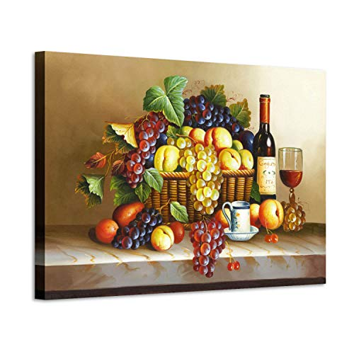 Grape Wine Picture Wall Art: Red Wine & Fruit Artwork Painting on Canvas for Wall (36'' x 24'' x 1 Panel)