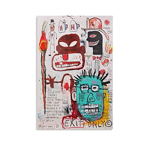 Poster abstrait Jean-Michel Basquiat sur toile pour salon, chambre à coucher 20 x 30 cm