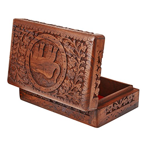 Global Village Bazaar - Joyero de madera hecho a mano,