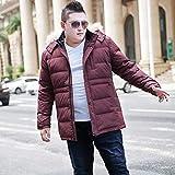 Luanda* Come Buy Manteau surdimensionné en duvet de canard chaud et épais à capuche coupe-vent pour l'extérieur Rouge foncé/9XL
