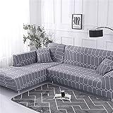 Funda Sofá de 3 plazas Universal Estiramiento, Morbuy Moderno Cubierta de Sofá Cubre Sofá Funda Furniture Protector Antideslizante Elastic Soft Sofa Couch Cover (1 plazas,Geometría Gris)