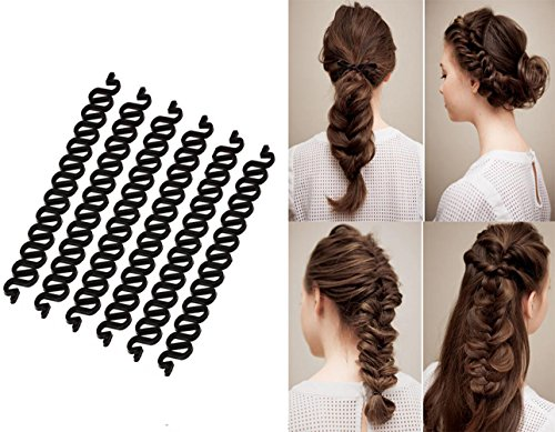 6 x schwarze, lange Kunststoff-Flechtwerkzeug für französische Haare, 19 cm