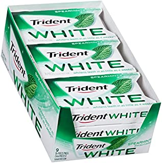 Trident White Spearmint Sugar Free Gum -16 Count (Pack of 9) (144Piece Total)