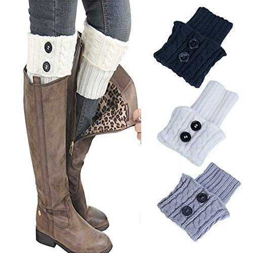 3 Paar Frauen-Winter-warmer gestrickter Stulpen Socken Damen Beinstulpen Strick Starker Häkelarbeit-Aufladungs-Stulpe-Socken-kurzer Bein-Wärmer URIBAKY
