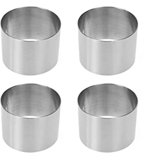 DKKLRR 4Pieces Round Mousse Cake Mold 2 Inch Mini Stainless Steel Food Grade Ring Pastry Ring Mold