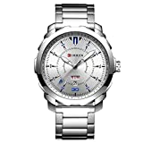 CURREN Men's Watch Stainless Steel Band Wristwatches Waterproof Quartz Watches with Calendar