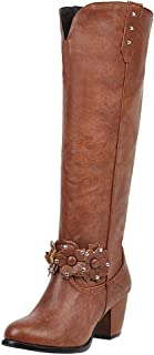 Zanpa Women Elegant Knee High Boot Wide Calf Block Mid Heels