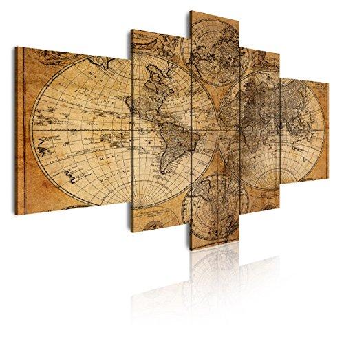 DekoArte - Cuadros Modernos Impresión de Imagen Artística Digitalizada | Lienzo Decorativo Para Tu Salón o Dormitorio |  Estilo Mapamundi Mapa del Mundo Antiguo | 5 Piezas 180 x 85 cm XXL