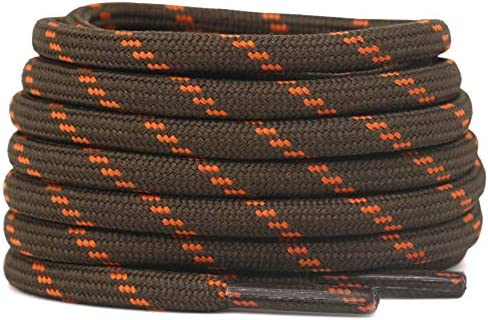 DELELE 2 Pair Thick Round Climbing Shoelaces Light Brown Orange Dots Hiking Shoe Laces Boot product image