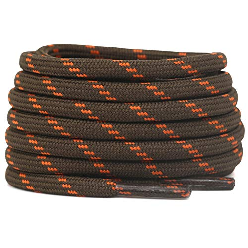 DELELE 2 Pair Thick Round Climbing Shoelaces Light Brown Orange Dots Hiking Shoe Laces Boot Laces 53.15 inch
