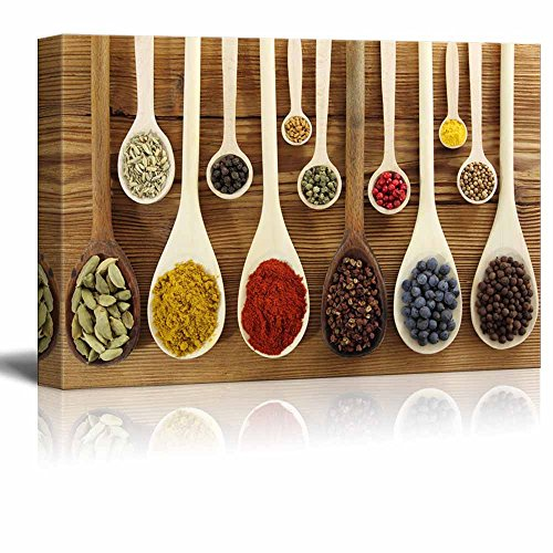 wall26 - Colorful Spices in Wooden Spoons - Canvas Art Wall Art - 24' x 36'