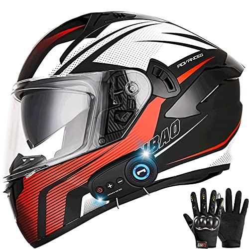 Bluetooth Casco Moto Integral, Casco de Moto Scooter para Mujer Hombre Adultos con Anti Niebla Doble Visera, Casco Integrado ECE Homologado con 1200mA Auriculares Bluetooth Bluetooth Casco Moto Modula