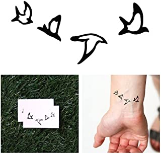 Tattify Bird Outline Temporary Tattoo - Double Date (Set of 2) - Other Styles Available - Fashionable Temporary Tattoos - Long Lasting and Waterproof