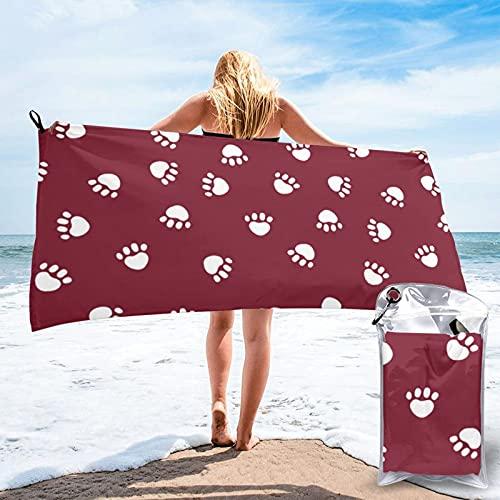 CERYS RILEY Toalla de playa roja rubí para perro, toalla de playa de microfibra, súper absorbente, de secado rápido, ligero, deportes, viajes, gimnasio, piscina, 80 x 160 cm