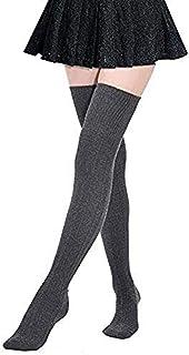 davidau Women's Wool Leg Warmer Over Knee High Socks Winter High Boot Stockings