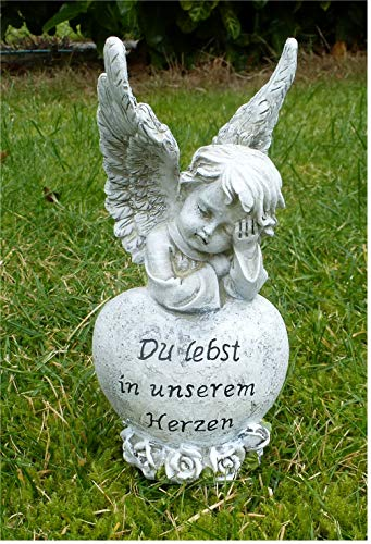 Home3010 Trauerengel Grabschmuck Engel auf Herz *Du lebst in unserem Herzen* grau-antik