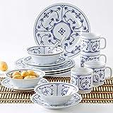 KAHLA 16G102O75019H Dinnerware of 4 Blau Saks Porzellan Geschirrset weiß blau Blumenmuster Kombiservice 16-teilig Frühstückset für 4 Personen Snackteller...