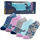 Disney Sneaker Socken Damen Bunt, 5 Paar Stitch Socken, Füßlinge Damen Set, 36-40