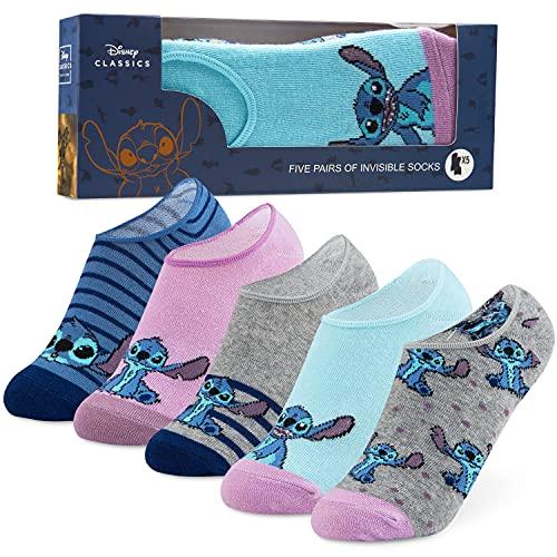 Disney Calcetines Tobilleros Mujer de Stitch, Pack de 5 Pares de Calcetines Invisibles Mujer, Regalos Originales Para Mujer