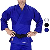 Adult Judo GI Uniform Elite Sports Double Weave IJF Approved Judo Suit Kimono GIs (BLUE, 3)
