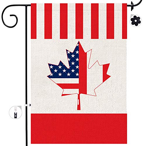 Bonsai Tree Canadian Garden Flag, Double Sided American Canadian Combination Burlap House Flags 12x18 Prime, National Country Maple Leaf Yard Signs State Home Outdoor Decor Banners