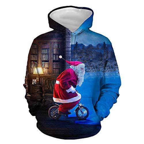 Felpa con cappuccio e cappuccio con stampa 3D di Babbo Natale, unisex, con Babbo Natale Xw90316 XXX-Large