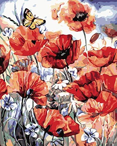 KLBPL Pintar por Numeros Flores Naranjas Lino Lona–DIY Pintura Al Óleo Decoracion De Pared Regalos Sin Marco 40,6X50,8 Cm con Pinturas Acrílicas Y 3 Pinceles