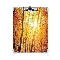 クリップボード ファームハウスの装飾 ミニバインダー 枝のある秋の森サンビームウッド単色の風光明媚な自然の写真 用箋挟 クロス貼 A4 短辺とじゴールドブラウン