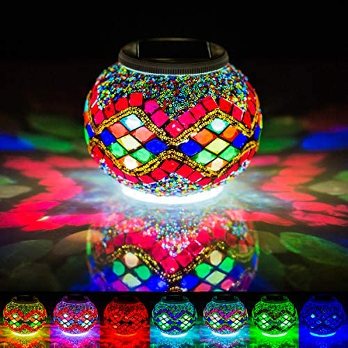 Mosaic Solar Glass Ball Light Color Changing Waterproof LED Night Light for Garden Patio Party product image