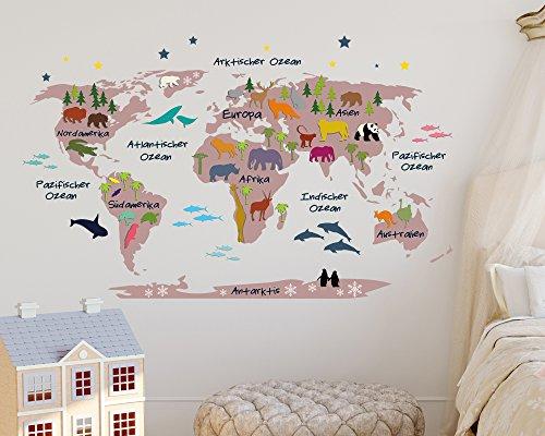 Wandtattoo Weltkarte für Kinder in rosa mit bunten Tieren (110 x 68 cm)