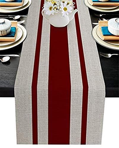 Chemin de table,chemin de table basse en toile de jute antidérapant pour dîner en famille,table de cuisine,bureau,style simple,texture de toile de jute vintage à rayures rouge foncé,13x70 pouces