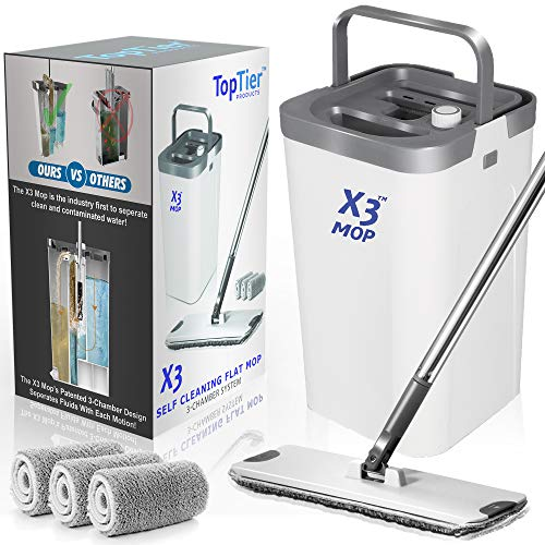 X3 Flat Floor Mop and Bucket Set for Hands Free Home Floor Cleaning, Separates Dirty and Clean Water, 3-Chamber Design 3 Reusable Microfiber Mop Pads Included