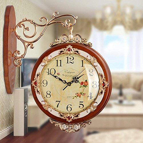 Longless horloge murale double face en bois massif horloge créative européenne rétro salon chinois horloge à quartz muet 43 * 36 * 10cm