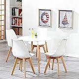 BenyLed - Juego de 4 sillas y Mesa de Comedor Redonda y sillas de Acolchadas, Juego de Muebles para el hogar, Oficina, Cocina, balcón (Blanco)