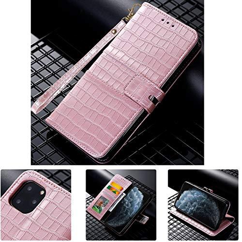 SevenPanda Flip Krokodil Muster Brieftasche für P40 Pro, Premium PU Leder Tasche mit Kickstand Kartenhalter Ausweis und Stoßfester Schutzhülle für Huawei P40 Pro, Roségold