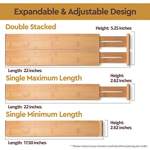 Extra-Large Bamboo Adjustable Drawer Dividers - Expandable (2.6 Tall, 17.5 - 22 Inch) Kitchen Utensil Organizer Separators for Kitchen, Dresser, Bedroom, Baby Drawer, Bathroom