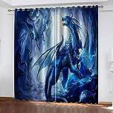WAFJJ Cortinas Dormitorio Moderno Azul y dragón Blackout Curtain Cortina Opaca Suave para Ventanas de Habitación Juvenil con Ojales Estar Niño Tamaño:2x75x166cm(An x Al)
