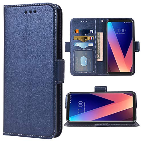 Phone Case for LG V35 ThinQ V30 Plus Folio Flip Wallet Case,PU Leather Credit Card Holder Slots Full Body Protection Kickstand Protective Phone Cover for LGV30 LGV35 Thin Q LG35 V35thinq Dark Blue