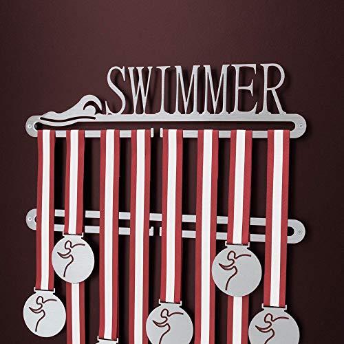 Swimming Medal display Double hanger, Swimmer Medal Holder - Schwimmen Edelstahl Medaillen-Aufhänger Anzeige