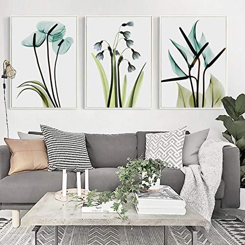 None brand Elegante poesía Moderno Minimalista Azul Transparente Flores Lienzo Pintura Cartel Arte Pared Imagen hogar Dormitorio decoración sin marco-40X50cmX3