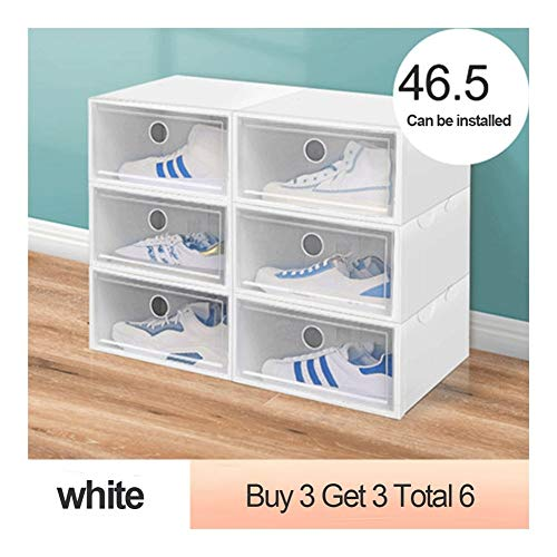 Tier Shoe Rack Shoe Tower Thickened dustproof Shoe Box Storage Box Transparent Drawer Shoe Storage Artifact Plastic Shoe Rack Shoe Cabinet Space Saving (Color : White)