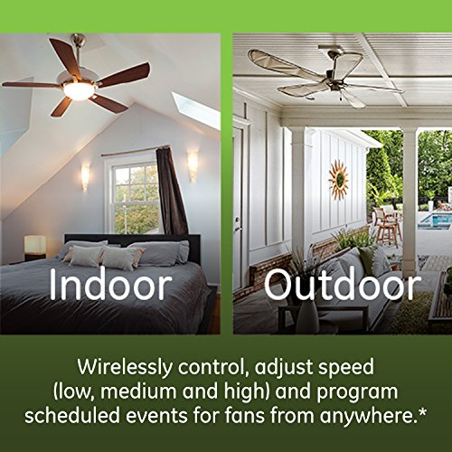 GE Enbrighten Z-Wave Plus Smart Fan Control, Works with Alexa, Google Assistant, SmartThings, Wink, Zwave Hub Required, Repeater/Range Extender, 3-Way Compatible, White & Light Almond, 14287