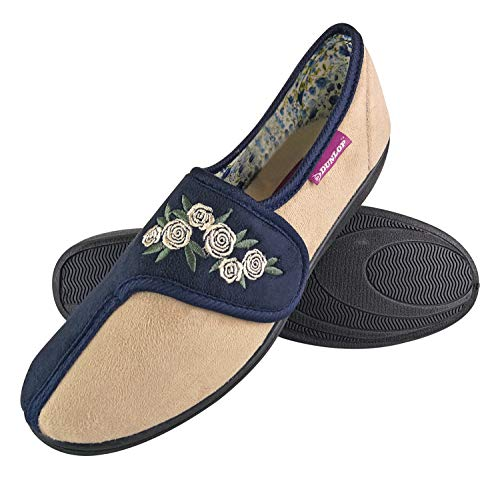 Dunlop - Damen Memory Foam Frottee Hausschuhe Klettverschluss mit Blumen für Senioren (39 EU, Navy Cream)