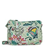 Vera Bradley Women's With Protection Vera Bradley Women s Signature Cotton RFID Little Hipster Crossbody Purse Mint Flowers One Size, Mint Flowers, One Size US