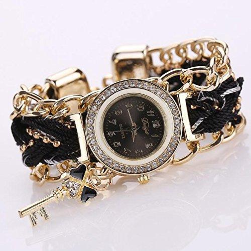 TANGTANGYI Damen Wristwatch Armbanduhren Quarzuhren Stop Watch analog Leder Edelstahl künstliche Diamanten Perlen Luxusuhren Handaccessoires Quarz Uhren E30