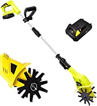 Electric Small Rotavator,Garden Tiller, 20V Electric Cordless Hand Tiller Cultivator with 5200mAh Rechargeable Lithium Bat...
