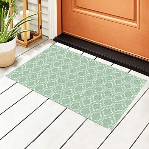 Chic Mint - Felpudo de entrada marroquí (PVC, antideslizante, impermeable, 40 x 60 cm)