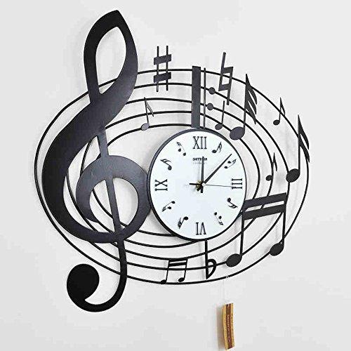 Metallo orologio da parete preciso --- decorativi muro nota di stile orologio / musica europea e americana creativo orologio / fashion art tavolo Hanging --- 1 x batteria AA (non incluse)