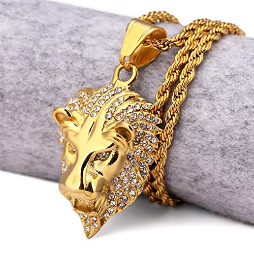 NICEWL Hip Hop Iced out Lion Head Collares Pendientes, Hombres Acero Inoxidable Punk Style Lion King Bling Cadenas, Rapper Luxury Street Rock Charm Joyería Animal