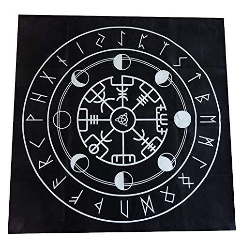 szlsl88 19-Zoll-Tarot-Tischdecke, Tarot-Stoff, heidnischer Altar-Dreifach-Astrologie-Tarot-Stoff Geheimnisvolle Drucke Tarot-Deck-Tischdecke